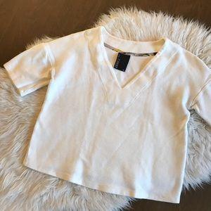 Anthropologie Dolan Textured White Cropped Top